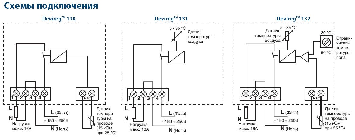 Схемы подключения Devireg™